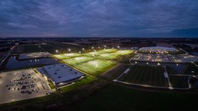Drone Shot of Fields at Night