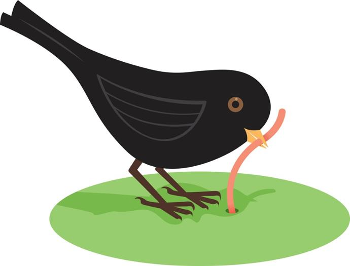 early-bird-getting-the-worm-vector-id823345542